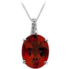 Garnet and Diamond Pendant in Sterling Silver ($98) ❤ liked on Polyvore featuring jewelry, pendants, red, pendant jewelry, red pendant, red jewelry, diamond pendant and red diamond jewelry