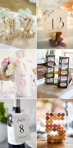 Vintage Wine and Winer Corks Wedding Table Numbers
