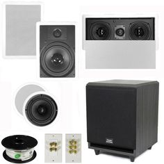 "5.1 Home Theater 8"" and 6.5"" Speakers, Center, 8"" Powered Sub and More TS6C8WL51SET3 by Theater Solutions. $339.99. Specifications2 TS65C In Ceiling/Wall Speakers6.5"" Woven Kevlar Drivers with 32-20,000 Hz Range200 Watts RMS and 400 Watts Max per pair92dB SensitivityCeiling Cut Out Size is 7.875""Overall Measurement is 9.5"" Mounting Depth is 2.875""2 TS80W In Ceiling/Wall Speakers8"" Woven Kevlar Drivers with 30-20,000 Hz Range250 Watts RMS and 500 Watts Max per pair93dB Sensit..."
