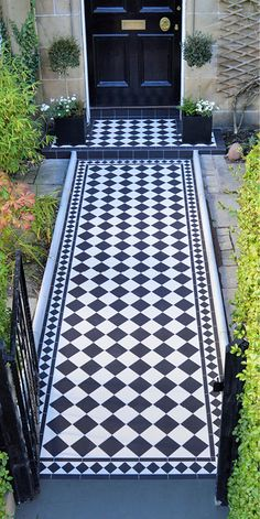 Create this beautiful checkerboard pattern with Original Style Dorchester Black and Dover White tiles, available to order from our Brentford branch Victorian Front Garden, Victorian Hallway, Victorian Tiles, Front Path, Front Door Steps, Porch Tile, Tiled Hallway, Buy Tile, Front Gardens