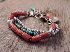 Southwestern Bracelet, Three Strand Bracelet, Handmade Artisan Jewelry, Artisan Silver, Coral, Turquoise, Silver, Sundance Style, Rustic
