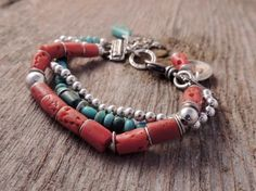 Southwestern Bracelet, Three Strand Bracelet, Handmade Artisan Jewelry, Artisan Silver, Coral, Turquoise, Silver, Sundance Style, Rustic
