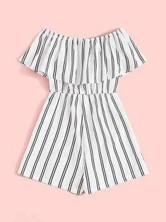 Flounce Foldover Off Shoulder Striped Romper – Kidenhouse Cute Teen Outfits, Teenage Girl Outfits, Girls Fashion Clothes, Kids Outfits Girls, Teen Fashion Outfits, Casual Summer Outfits, Trendy Outfits, Cool Outfits, Rompers For Kids