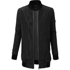 LE3NO Womens Lightweight Long Military Bomber Jacket ($35) ❤ liked on Polyvore featuring outerwear, jackets, blouson jacket, flight jacket, collar jacket, light weight jacket and lightweight bomber jacket