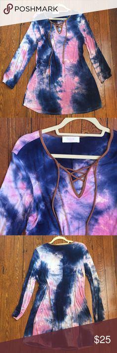Tie dye dress Amazing very comfortable dress size small but fits s/m Peach Love California Dresses Long Sleeve