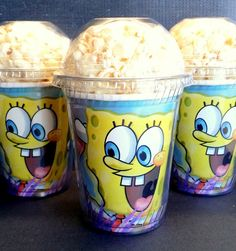 Popcorn Boxes, Sponge Bob Square Pants Birthday Party Popcorn Boxes with dome…