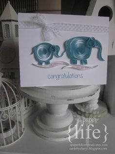 quilled blue mama & baby elephant card  by APaperLifeOriginals, $9.00