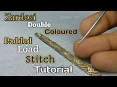 In this video you will learn Zardosi double coloured padded load stitch. ○○●●WELCOME to SHAKEEL FYM●●○○ This video i m going to show you padded load stitch u. Hand Embroidery Videos, Hand Embroidery Flowers, Embroidery Stitches Tutorial, Hand Work Embroidery, Folk Embroidery, Learn Embroidery, Hand Embroidery Designs, Embroidery Techniques, Sewing Stitches