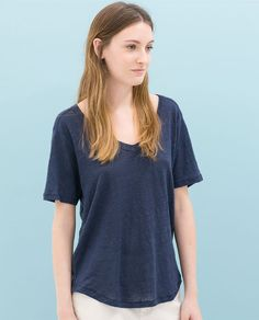 Image 1 of LINEN T-SHIRT from Zara