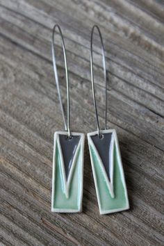 Green & Gray Geometric Porcelain Earrings  Long by tashamckelvey, $28.00