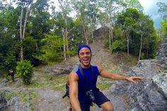 Climbing La Danta, the largest Mayan pyramid located in El Mirador Guatemala in Central America