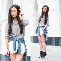 Get this look: http://lb.nu/look/5106308  More looks by Levi Nguyen: http://lb.nu/tlnique  Items in this look:  H&M Denim Blouse, Zara Boots, Zara Skort, Style In Kind Necklace   #tiedaround #tlnique