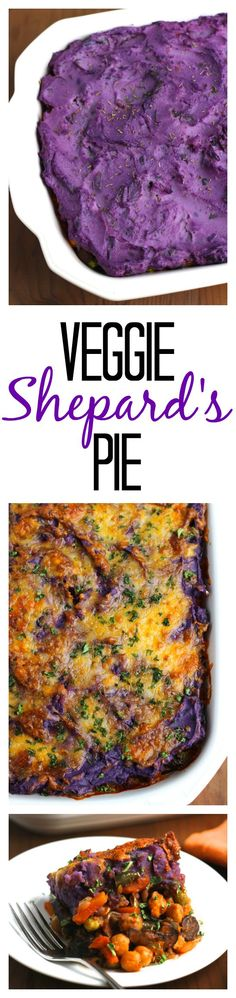 Vegetarian Shepard's pie, loaded with sauteed crimini mushrooms, chick peas, and mixed veggies. Topped with creamy, purple, buttermilk mashed potatoes. This casserole is perfect for fall or winter for dinner, when all you want is comfort food! #vegetarian #cleaneating