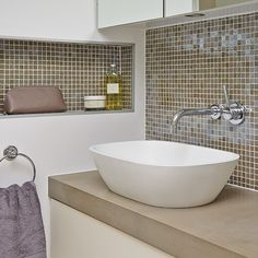 Modern and functional small bathroom ideas for you. There's no need to keep a small bathroom plain and minimalist. Make a small bathroom look bigger. Bathroom Design Small, Simple Bathroom, Bathroom Interior Design, Modern Bathroom, Laundry Room Storage, Bathroom Storage, Loft Bathroom, Recessed Shelves, Recessed Light