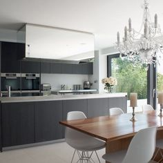 Nice Modern kitchen, plus the chandelier.