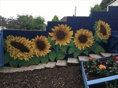 Outdoor sunflower mural