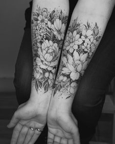 Black and grey ink florals by Tritoan Ly
