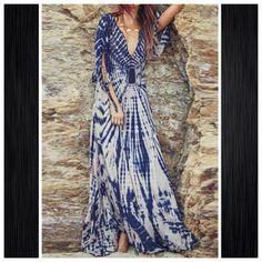 Boho Tie-Dye Maxi Dress Boho Tie-Dye Maxi Dress.                                           Measurements (in inches).                             Size   Bust  Length  Shoulder  M   37         56         15 Boutique Dresses Maxi