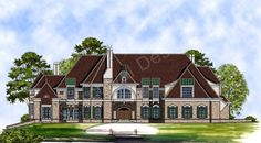 Bellenden Manor House Plan - Bellenden Manor House Plan Front Rendering - Archival Designs