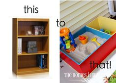 Old book shelf into a sand box with toy bin.