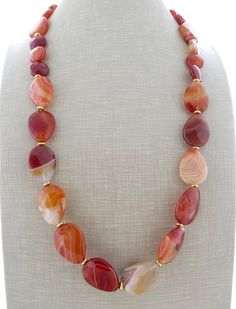 Orange carnelian necklace agate necklace long beaded