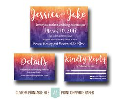 Sunset Style, Watercolor Wedding Invitation-- Or DIY Printable Save the Date- Digital File. Click through to find matching games, favors, thank you cards, inserts, decor, and more. Or shop our 1000+ designs for all of life's journeys. Weddings, birthdays, new babies, anniversaries, and more. Only at Aesthetic Journeys