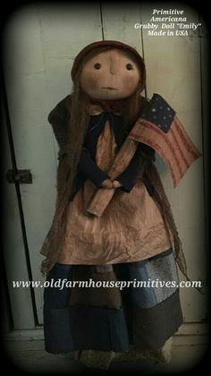 "Primitive Americana Grungy Doll ""Emily"" (Made In USA)"