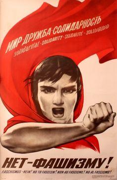 Original vintage propaganda poster by the Soviet artist, Viktor Koretsky (1909-1998): Solidarity - No to Fascism!