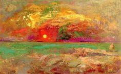 Odilon Redon (1840-1916), Puesta de sol. Óleo sobre tabla, 28.6 x 45.7 cm, Colección particular