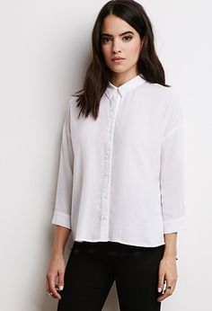 Boxy Linen-Blend Shirt | Forever 21 - 2000054101