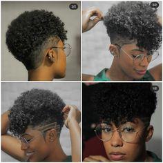 Short Black Natural Hairstyles, Natural Hair Haircuts, Natural Hair Short Cuts, Short Sassy Hair, Short Hair Cuts, Natural Hair Styles, Short Hair Designs, Shaved Hair Designs, Short Fade Haircut