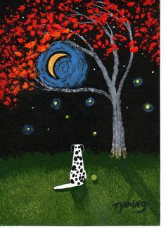 Dalmatian Dog Art PRINT Todd Young painting Autumn by ToddYoungArt, $12.00