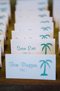 Escort cards // photo by http://dearwesleyann.com, see more: http://theeverylastdetail.com/beach-chic-pink-and-yellow-wedding/