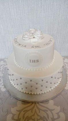 Tort na Komunię biało - srebrny
