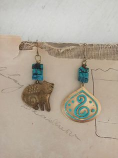 felineupcycled brass cat charm earrings turquoise earrings by Arey