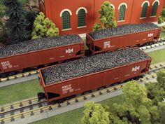 Add some consistency to your consist with the just arrived MTH RailKing O Gauge 3-Car 4-Bay Hopper Car Sets. These RailKing Hopper Sets come in Pennsylvania, Norfolk & Western, Bessemer & Lake Erie, and Pittsburgh & Lake Erie road names. Each car in the set operates on O-31 Curves and each one of these sets has a MSRP of $139.95. Ask your MTH Dealer about getting a RailKing O Gauge 3-Car 4-Bay Hopper Car Set today.