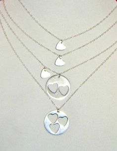 Mothers Day Gift Grandmother Mother Two Daughters Heart by Jwhiz $75 - READY TO SHIP #MothersDay #GrandMother