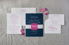 Navy and Raspberry wedding invitation