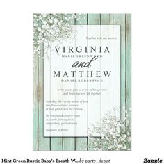 Mint Green Rustic Baby's Breath Wedding Invitation