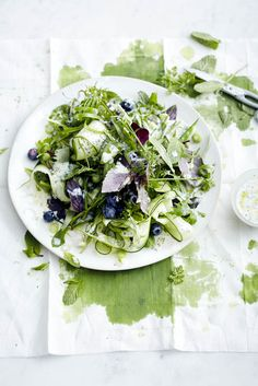 Herb salad with blueberries and a buttermilk dressing