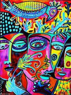 Sandra Silberzweig Birds Abstract Peacock Goddesses 8 X 10 Giclee Canvas Print