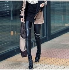 Women Faux Leather Skinny Pants Sexy Zipped Leggings Stretch Slim Trousers