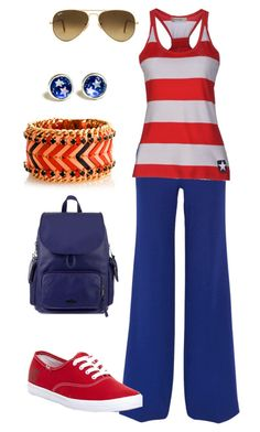 """""""Lazy captain America"""" by mrykaboom ❤ liked on Polyvore featuring Roland Mouret, Converse, Keds, Kipling, Ray-Ban and Henri Bendel"""