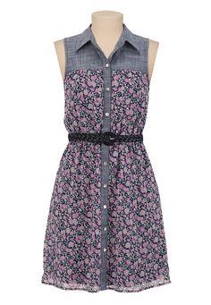 Belted Chiffon Floral Shirtdress