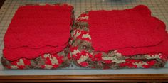 "Matching winter scarves 9"" x 72""; Bernat Blanket yarn double crochet; 12.21.16"