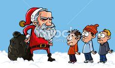 Mean Santa scowling at three kids Royalty Free Stock Vector Art Illustration Christmas Cartoon Pictures, Christmas Cartoons, Kids Vector, Free Vector Art, Three Kids, Third, Royalty, Santa, Family Guy