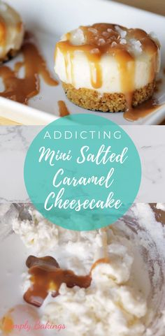 This Mini Salted Caramel Cheesecake is soft, creamy, delicious and addicting! This is perfect for Thanksgiving and a real treat for Salted Caramel lovers! Prepare this for Thanksgiving parties or any gathering that needs a decadent dessert! Pecan Desserts, Mini Desserts, Desserts For A Crowd, Creative Desserts, Party Desserts, Great Desserts, Delicious Desserts, Dessert Recipes, Desserts Caramel