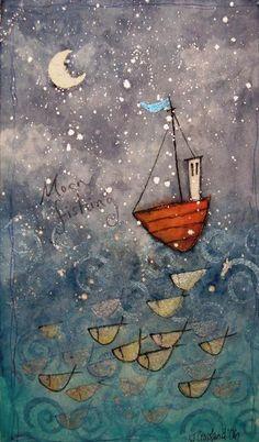 'Moon Fishing' Limited Edition Print - CoastalHome.co.uk: Art & Prints