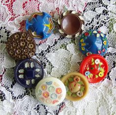 Vintage Glass Buttons Art Deco Glass buttons with Colourful Handpainted detail.  Red, blue, brown and white  Glass buttons Heart and flowers