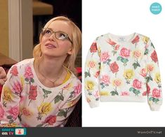 Maddie's rose print sweater on Liv and Maddie.  Outfit Details: https://wornontv.net/55587/ #LivandMaddie